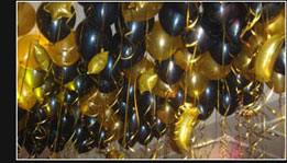 Black & Gold Ballons with Gold Stars & Moons Ceiling
